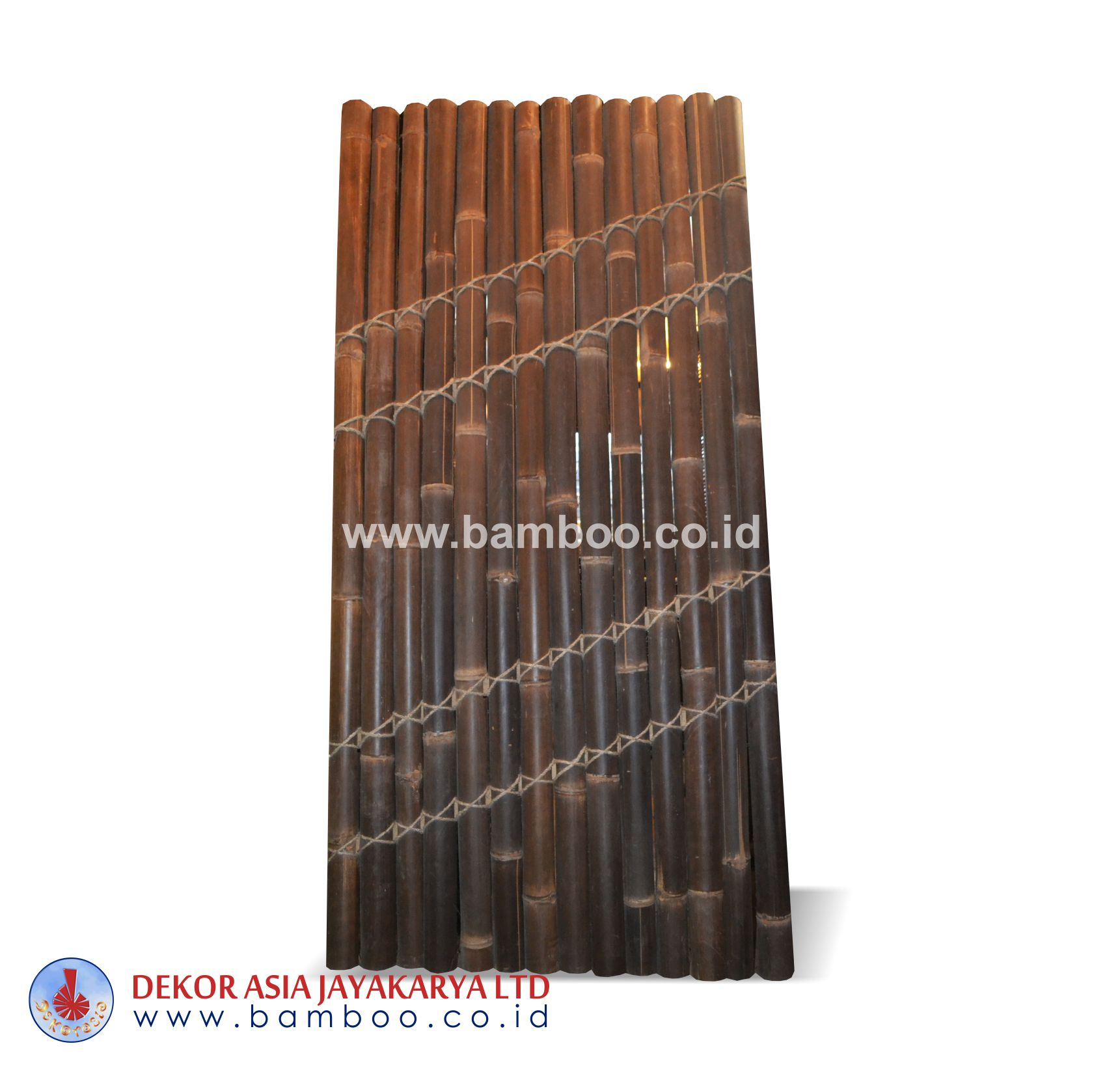 Half cut bamboo fence 4 back slats black coco rope